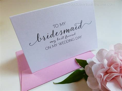 Wedding Card For Your Best Friend by To My Bridesmaid My Best Friend Wedding Thank You Card