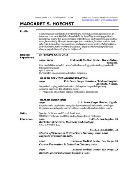 resume templates exles resume templates and exles