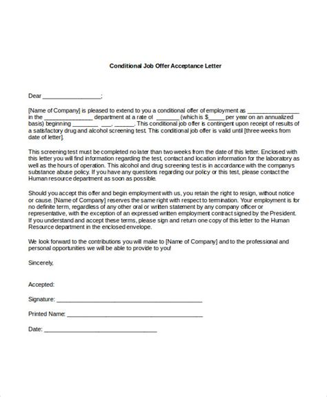 Appointment Letter Conditions offer letter acceptance pertamini co