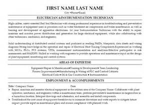 electrician amp instrumentation technician resume template