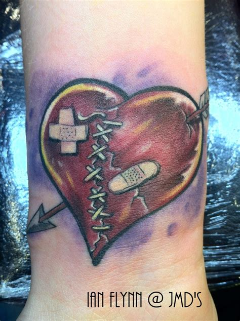 broken heart tattoo by ian flynn my tattoo portfolio