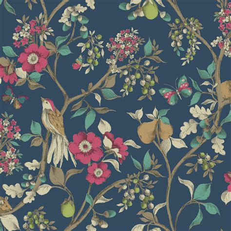 Motif Florence Pink holden d 233 cor damsen floral pattern bird countryside metallic gold wallpaper 98100 navy i