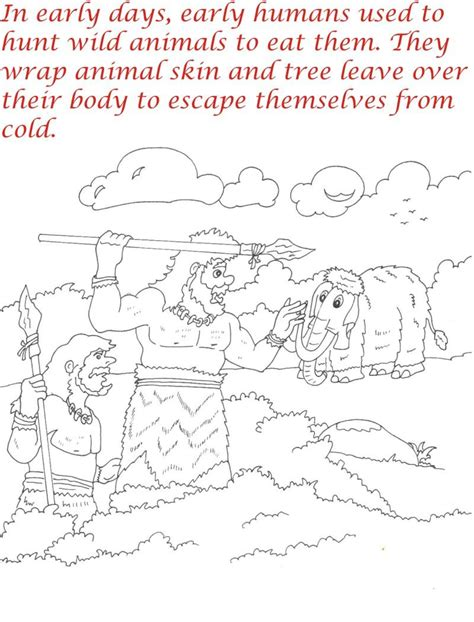 early humans coloring page early humans printable coloring page for kids 3