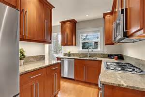 oak floors cherry cabinets kitchen