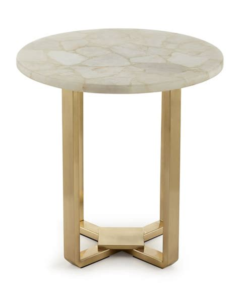 Quartz Side Table Kendall White Quartz Side Table
