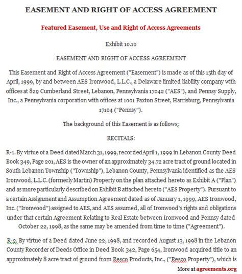 easement agreement template easement template free printable documents