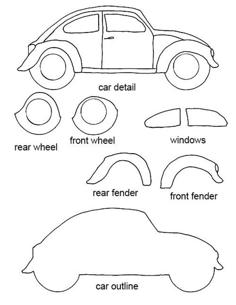 free felt templates felt crafts free patterns free vw bug craft template