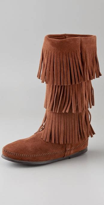 minnetonka 3 layer fringe boots in brown lyst