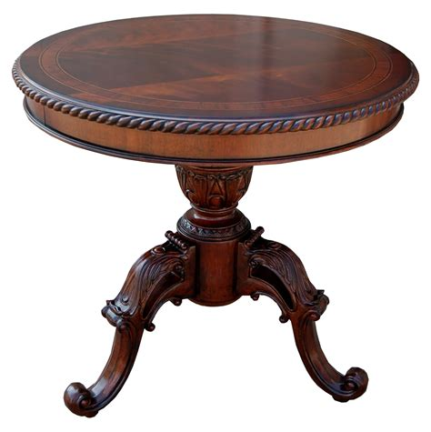 Mahogany Accent Table | traditional ornate mahogany round accent end table