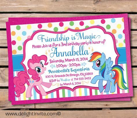 invitation fourth birthday card templates updated free printable my pony birthday