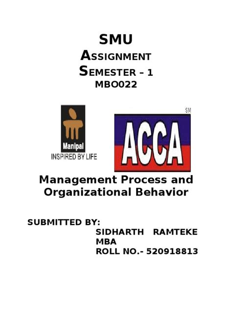 Organizational Behaviour Book For Mba by Management Process And Organizational Behavior Complete