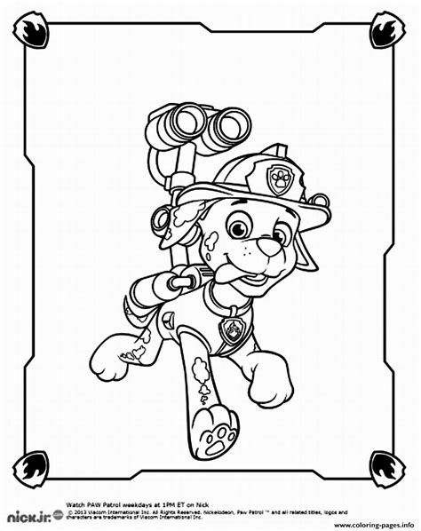 paw patrol marshall spy coloring pages printable