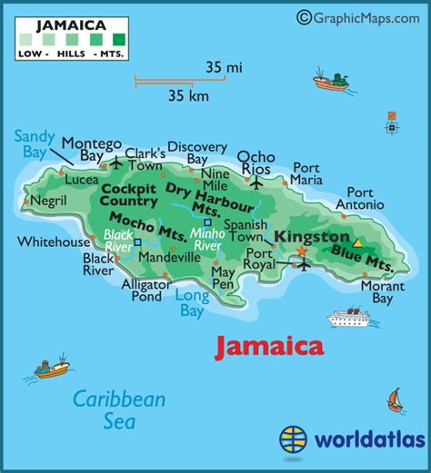 map world jamaica jamaica large color map