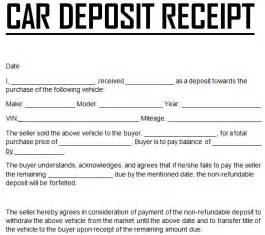Vehicle Sales Receipt Template Free by Car Payment Deposit Receipt Template Excel Templates