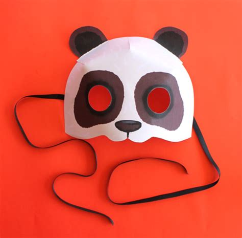 How To Make Paper Masks - print paper panda mask animal mask diy costume
