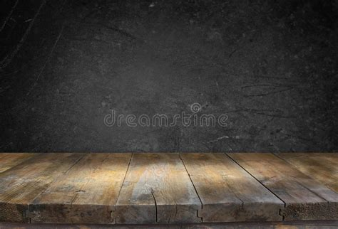 grunge vintage wooden board table  front  black