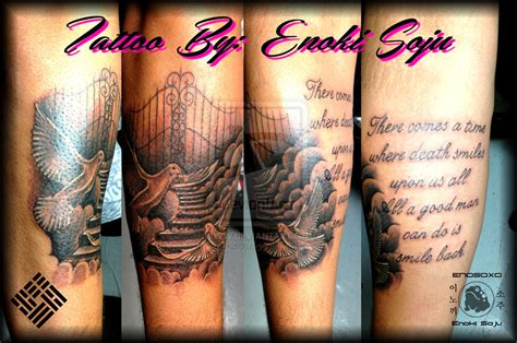 custom heavens stairway gates dove tattoo by enoki by
