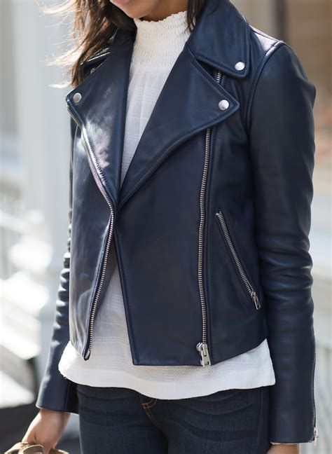 Jaket Navy a navy leather motorcycle jacket