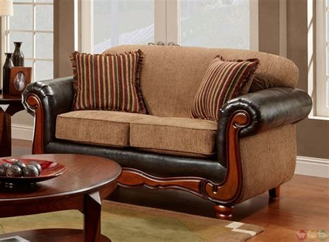 cherry wood sofa cherry wood frame radar mocha chenille sofa loveseat set