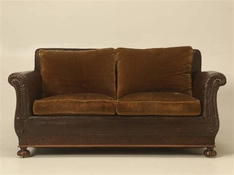 leather settees antique french leather and velvet settee from the 1930s