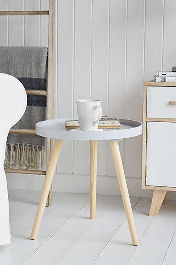 portland grey small scandi tripod table  white