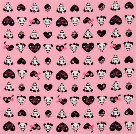 Sprei Single Motif Panda pink kawaii panda fabric with black hearts japan animal fabric fabric kawaii shop modes4u