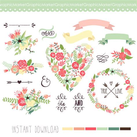 wedding floral clipart digital wreath floral frames