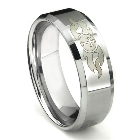 tungsten carbide laser engraved fiery cross wedding band ring