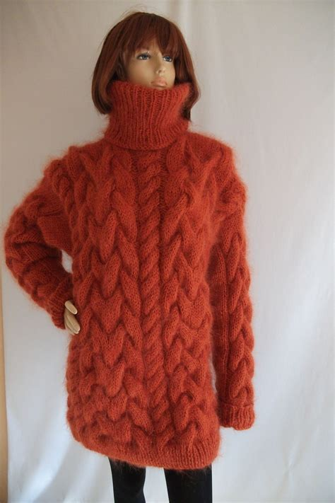 thick knit sweater thick chunky cable knitted mohair merino turtleneck