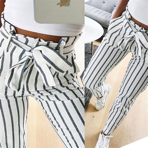 44232 Stripe Casual Waist Tie S M L Blouse Le301117 Import 2017 ol chiffon high waist harem striped bow tie drawstring sweet elastic waist pockets