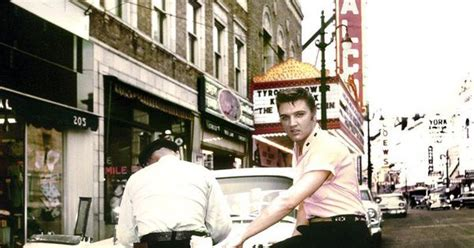 haircuts downtown memphis elvis in front of jim s barber shop in memphis 1956 if