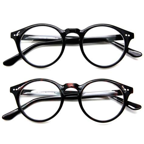clear lens oval eyeglasses plastic frame