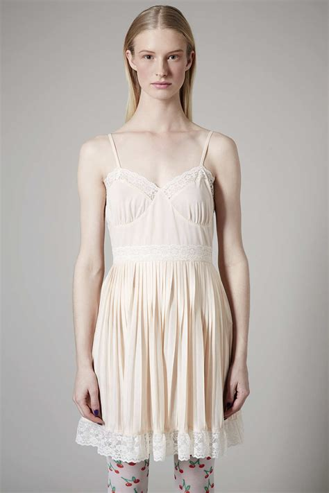 Slop Dress lyst topshop pale pink slip dress in white