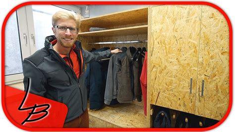 werkstatt verkleiden 2 5 schrank garderobe selber bauen aus osb