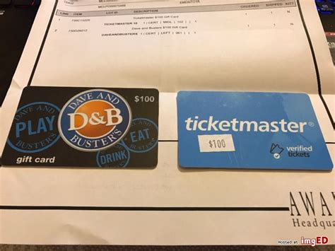 Dave And Buster Gift Cards - ticketmaster and dave and buster s gift card 100 each image on imged