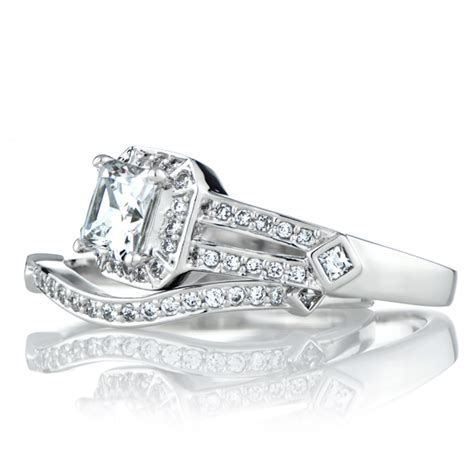 cadence s princess cut cz wedding ring set