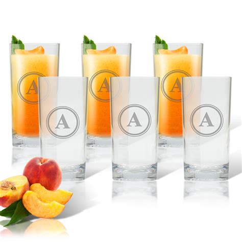 monogram barware monogram cooler highball glasses set of 6 classic prep