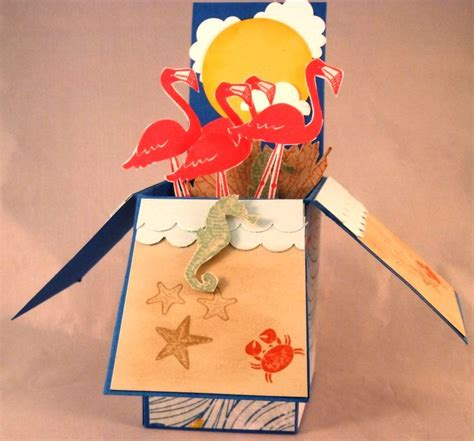 Flamingo Pop Up Card Template by 73 Best Card In A Box Images On Exploding Box