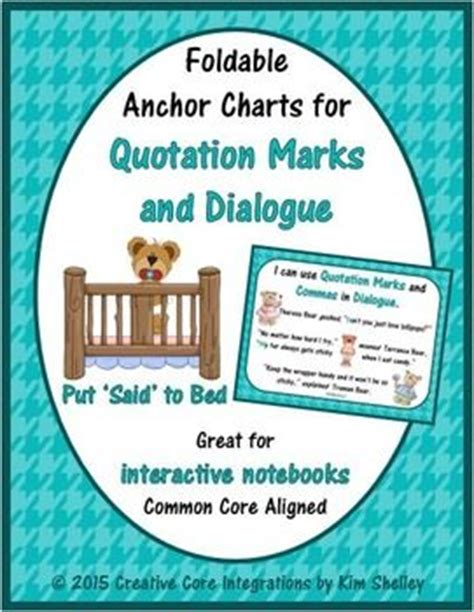 put said to bed quotation marks flipbook anchor chart and put said to