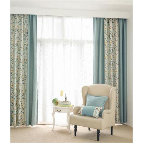 Blue And White Curtains For Living Room Blue And White Botanical Jacquard Poly Cotton Blend