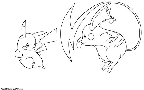 coloring pages of mega pikachu pikachu vs raichu lineart by jamalc157 on deviantart