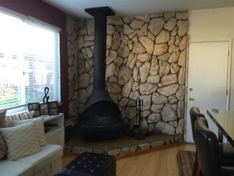 home design lava removal of 1970s faux rock lava wall fireplace