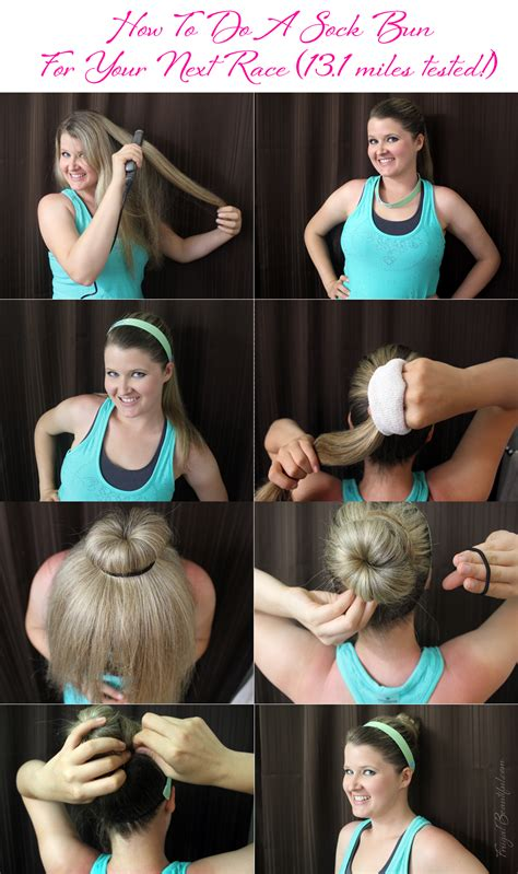 hairsyls formarathons how to do a sock bun for a run that will survive a half
