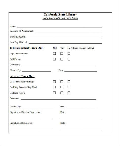 exit form template exit clearance form 6 free documents in word pdf