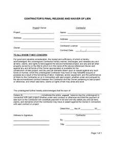 lien waiver template standard lien waiver form 4 free templates in pdf word