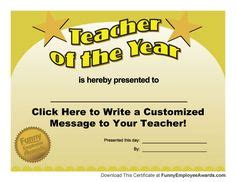 Free Teacher of the Year Award Certificate Template and