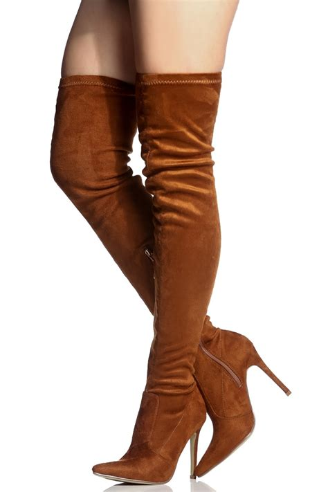 faux suede thigh high pointed toe boots cicihot