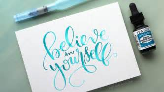 watercolor brush lettering using a light pad