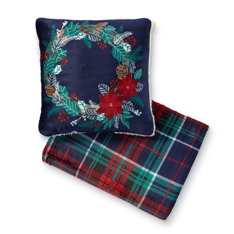 cannon christmas velour pillow throw set holiday