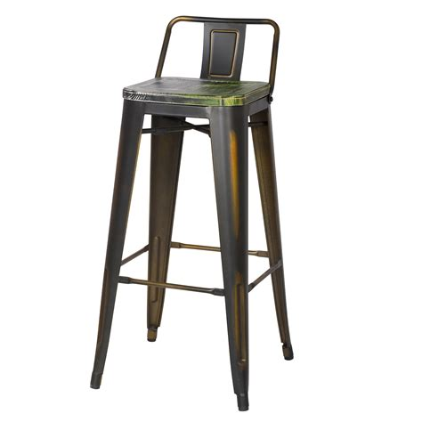 30 Inch Bar Stool With Back Joveco 30 Inches Distressed Metal Bar Stool With Low Back Set Of 2 Bronze With Vintage Green